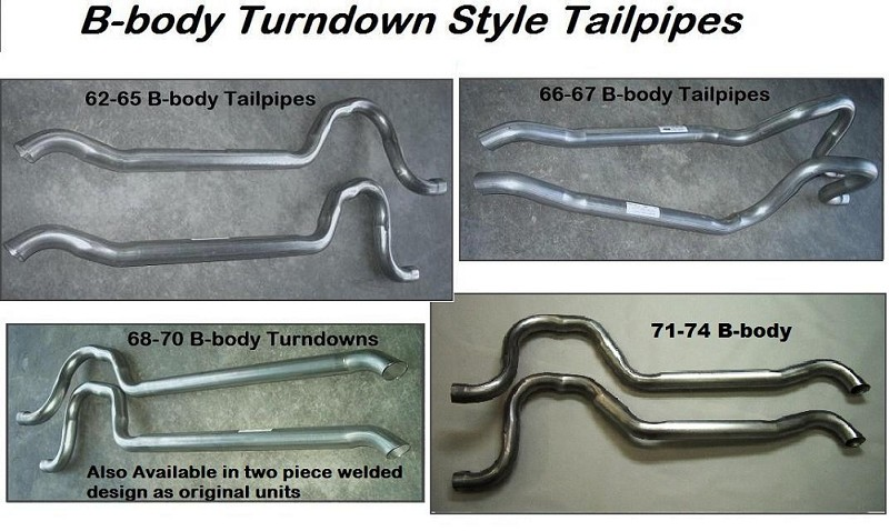 Tail Pipes (pair) '62-'74 Turndown Style for B-body