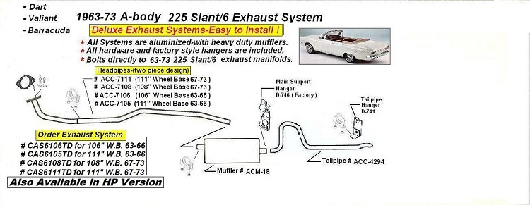63 73 A Body 225 Slant 6 Complete Exhaust System